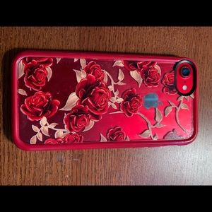 Casetify iPhone 7 clear case w red roses